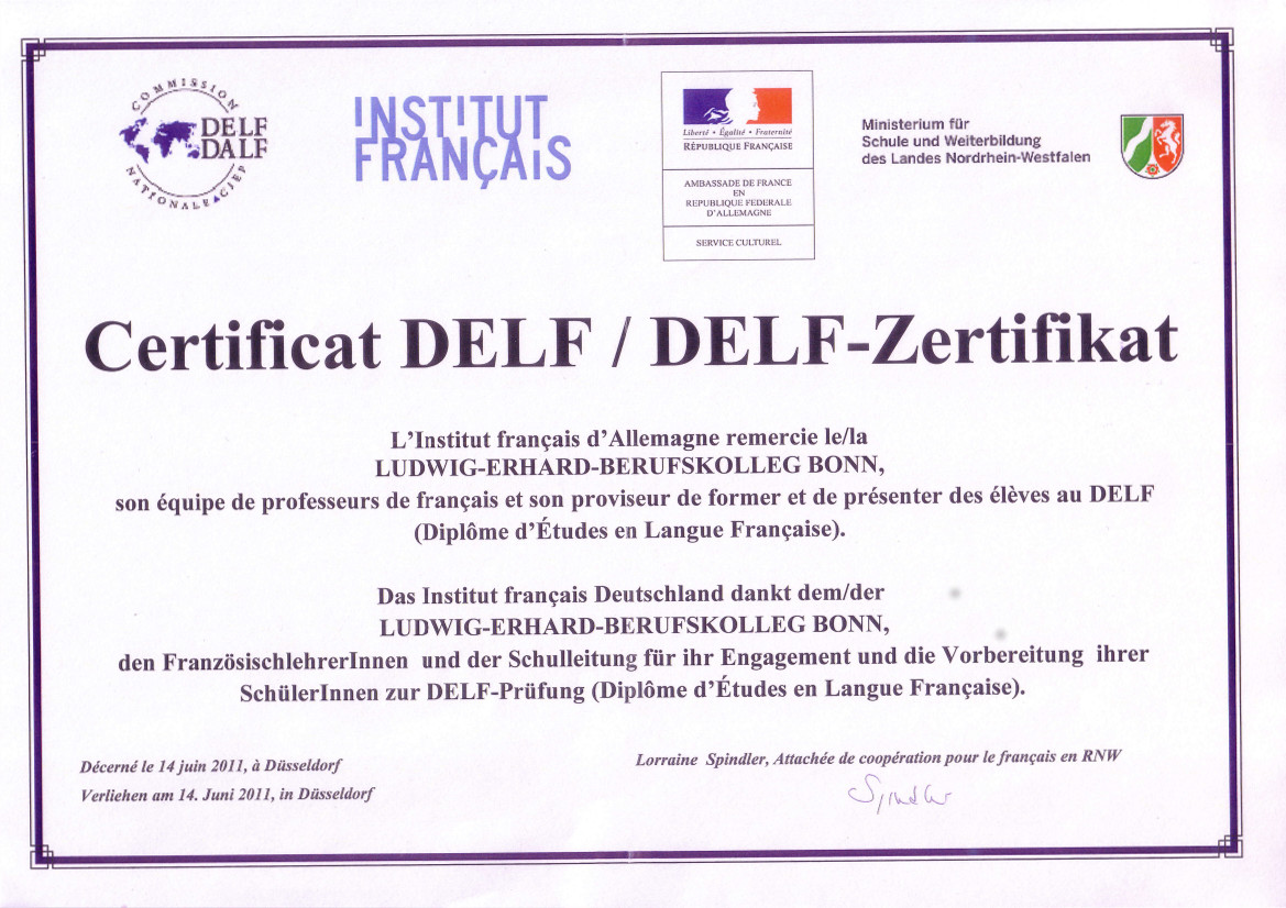 DELF - Zertifikat